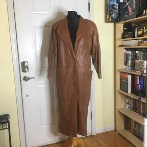 leather floor length trench coat